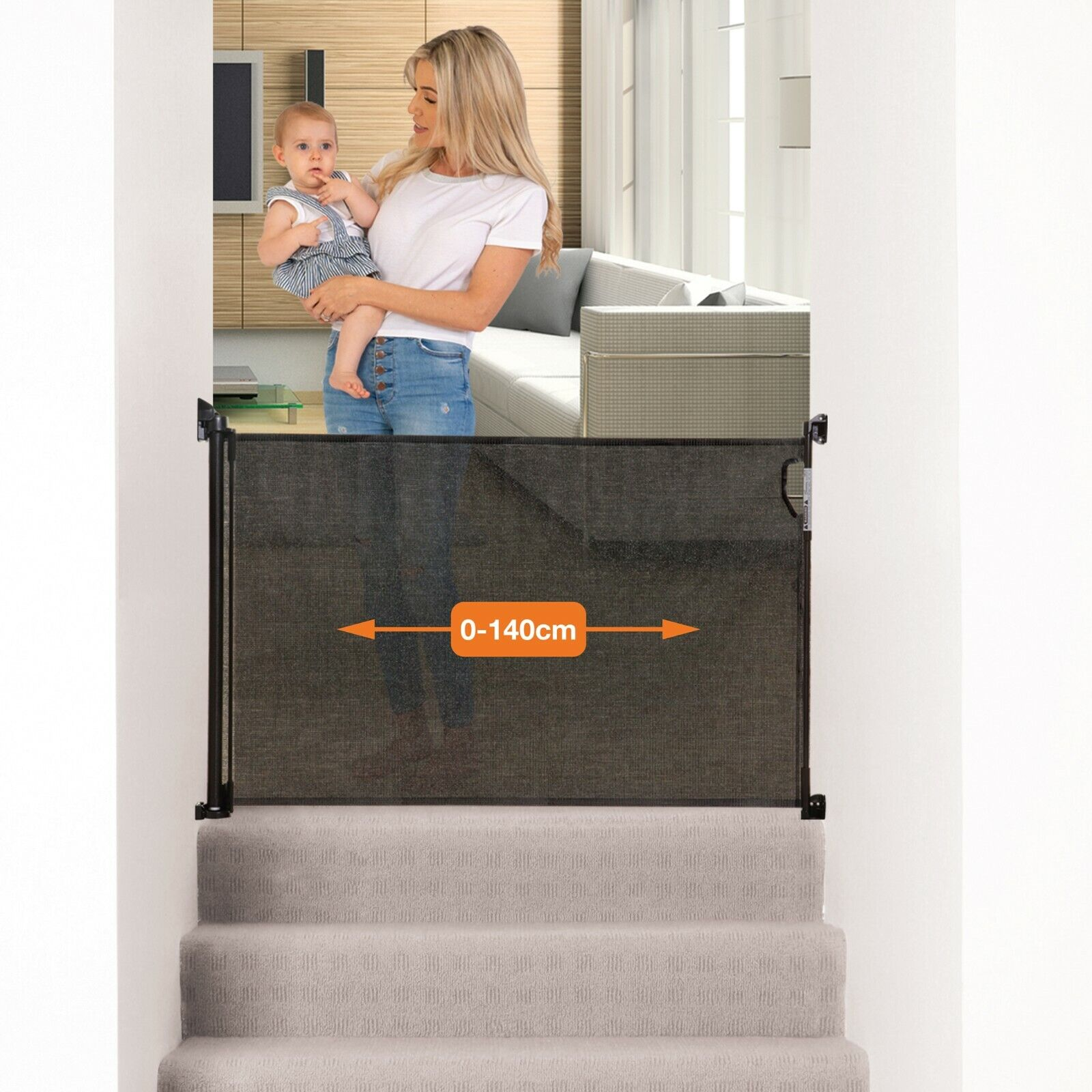 Dreambaby Retractable Mesh Safety Gate Baby Dog Pet Stair Gate 140 Cm Black 9312742894313 Ebay