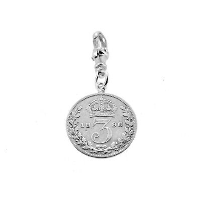 Sterling Silver 1896 Three Pence Coin Pocket watch Albert Chain Fob Charm