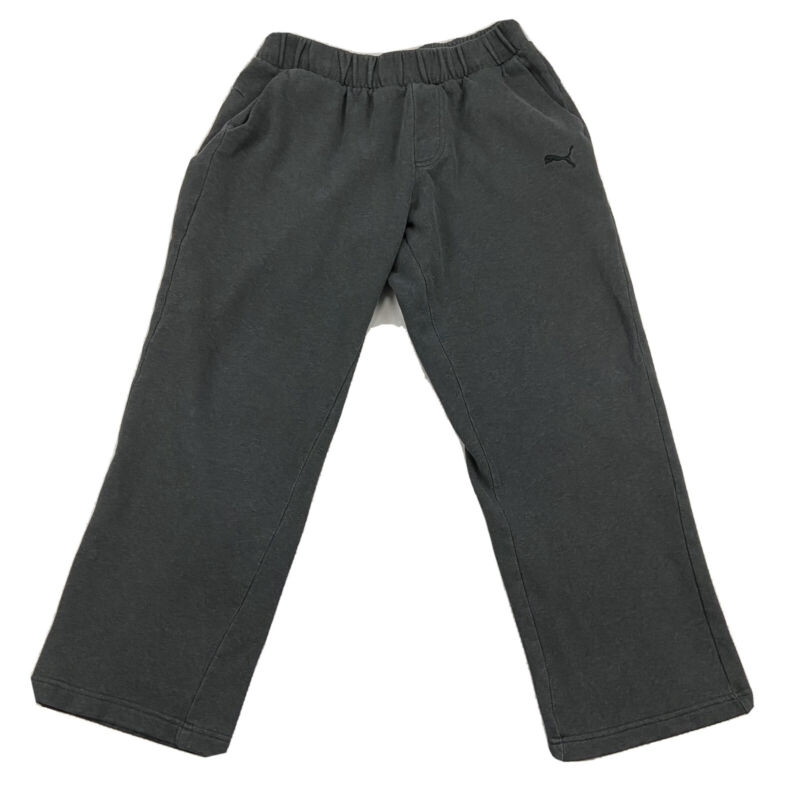 Puma Boys Large Dark Gray Sweatpants Embroidered Logo Drawstring Athletic Camp
