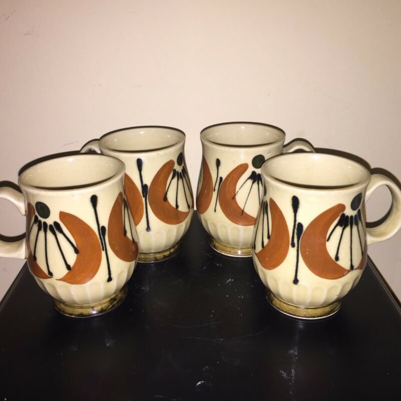 Vintage Stoneware Mugs Mid Century Modern Space Age Euc