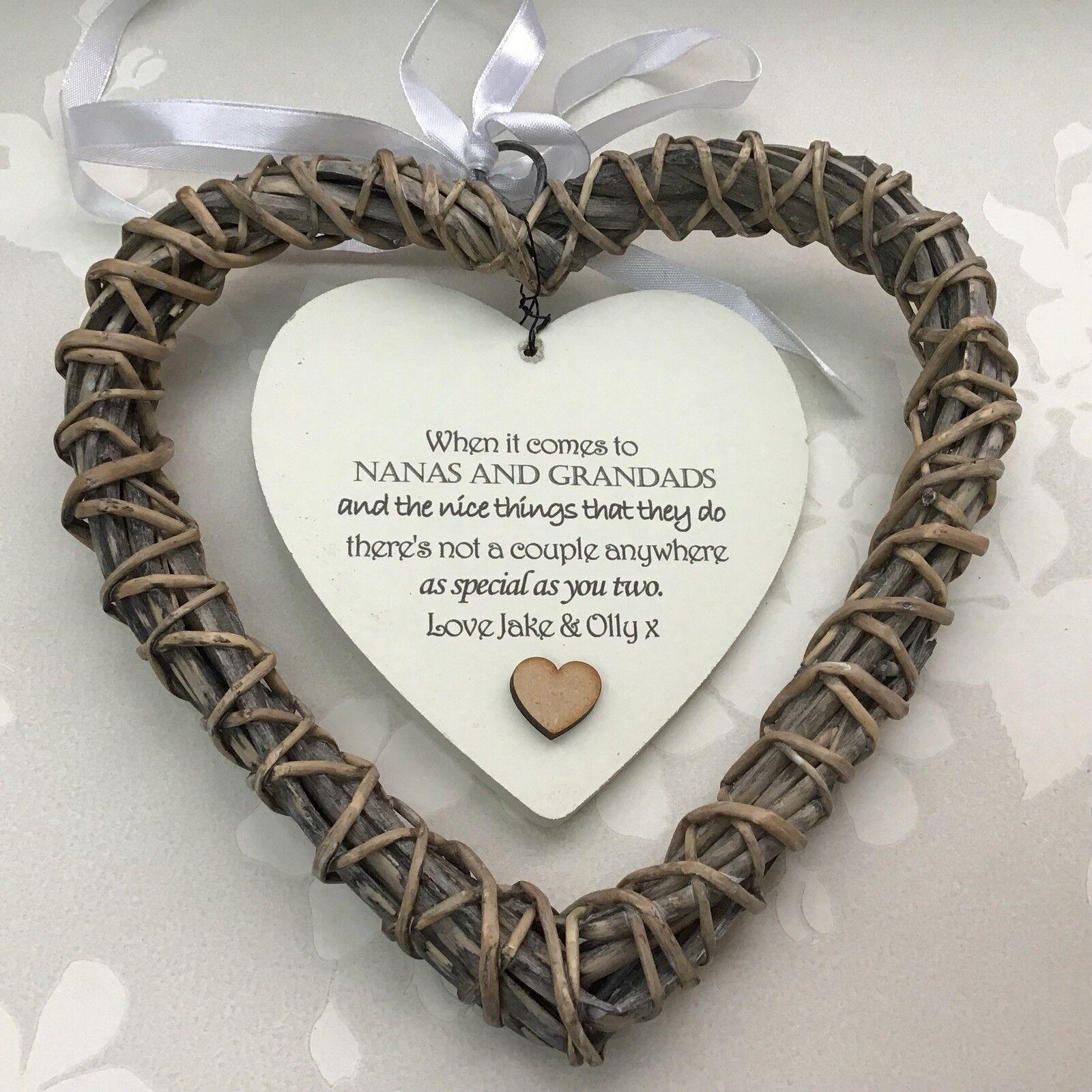 Shabby personalised Chic NANA Nanny NANNIE Grandad ~ ANY NAMES Gift Willow Heart