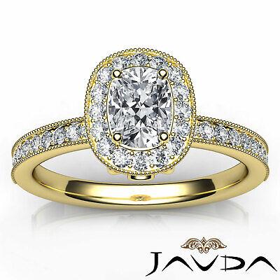 Milgrain Halo Pave Bezel Set Cushion Diamond Engagement Ring GIA G Color VS2 1Ct 10