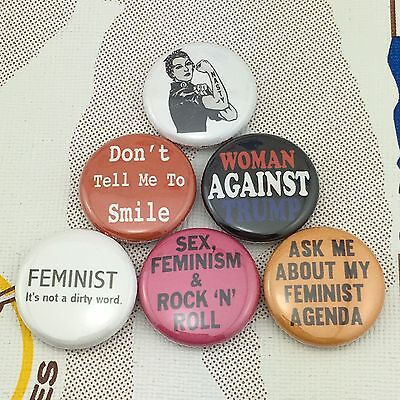 "Feminism 1"" buttons badges Donald Trump Equal Women's Rights Feminist"