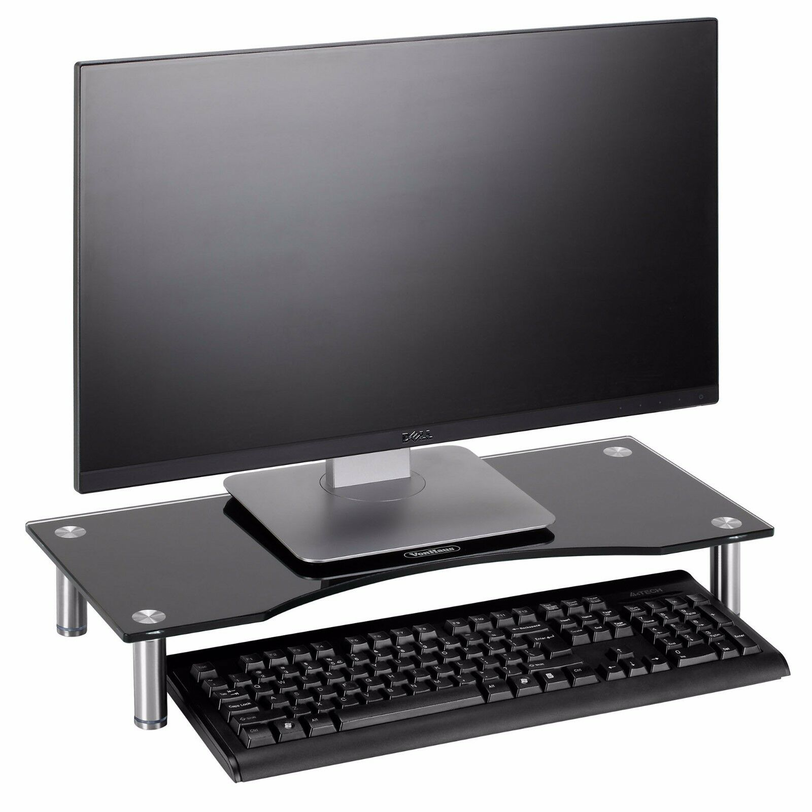 VonHaus Black Glass Computer Monitor TV Screen Stand Riser S