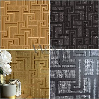 VERSACE PARVUS GREEK KEY LUXURY METALLIC WALLPAPER - BLACK 96236-3, GOLD 96236-1