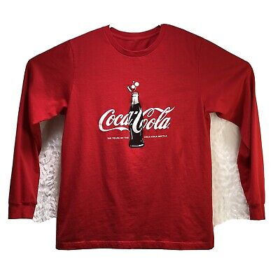 COCA-COLA Long Sleeve Red T-Shirt Drink Glass Bottle 100 Years Mens L Womens XL