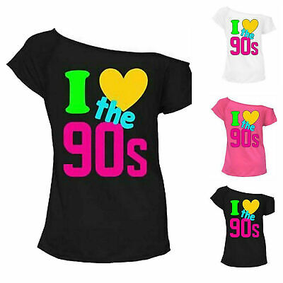 Ladies Womens I Love the 90s Fancy Dress Hen Party Retro Festival T-Shirt Top