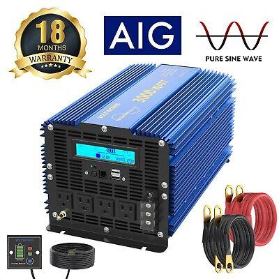 3000Watt Pure Sine Wave Power Inverter 12V DC to 120V AC 4 AC Outlets Dual  USB Ac 120 Watt Usb Inverter