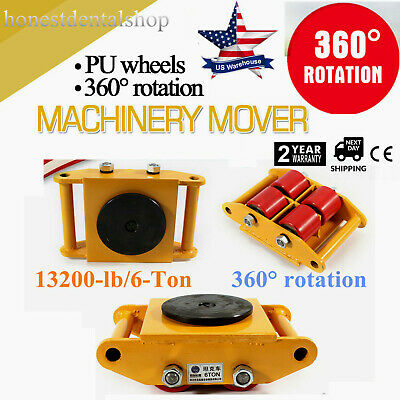 360 Heavy Duty Machine Dolly Skate Machinery Roller Mover Cargo Trolley 6t