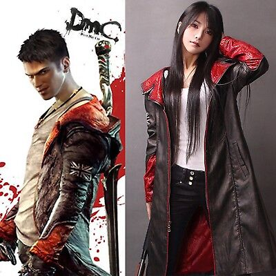 Kunstleder Mantel Dante Spiel Devil May Cry Standardgröße Cosplay Kostüm NEU ()