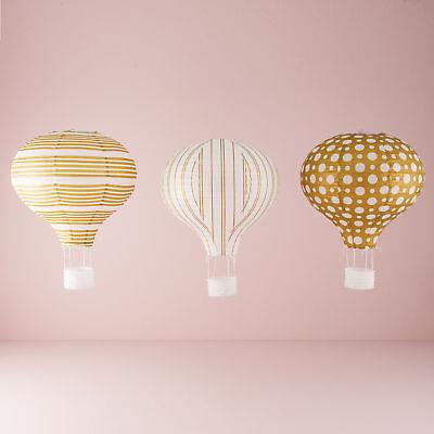 Papier Heißluftballon Laternen Geschenke in Gold und Weiß Muster 3 Packung