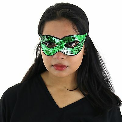 Adults / Kids Halloween Masquerade Carnival Party Sequin Cat Eye Mask - Green ()