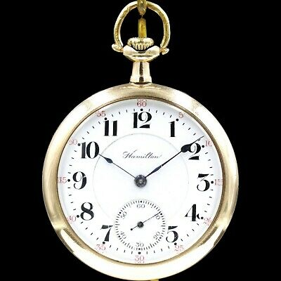 Gold 1913 Hamilton 21 Jewel 992 RAILROAD Grade Pocket Watch Mechanical USA 16s