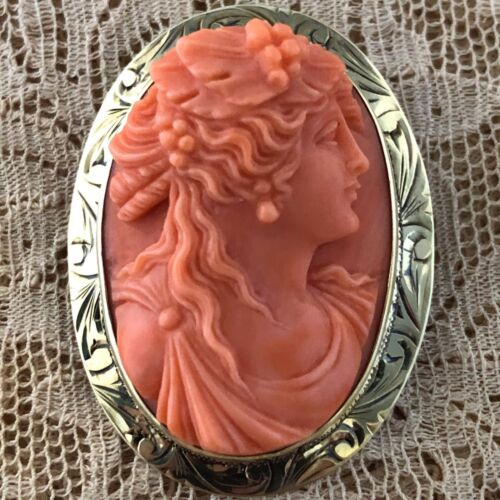 Antique Gem Coral Cameo Beautiful Woman Brooch14K Engraved Gold Victorian Pin