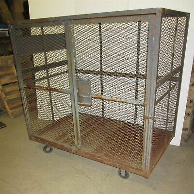 Cage 75x45x72 Wire Rolling Lockable Security Job Site Supplies