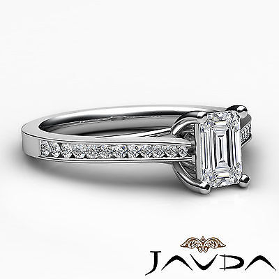 Trellis Style Emerald Cut Diamond Engagement Channel Bezel Ring GIA I VS2 1.01Ct 2