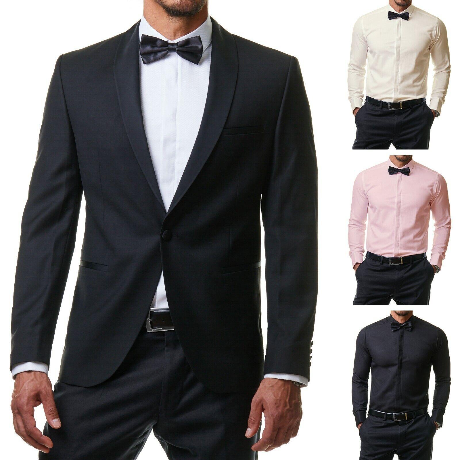 Herren Hemd Anzug Smoking Business Slim Fit Hochzeit + Fliege Manschetten S-2XL
