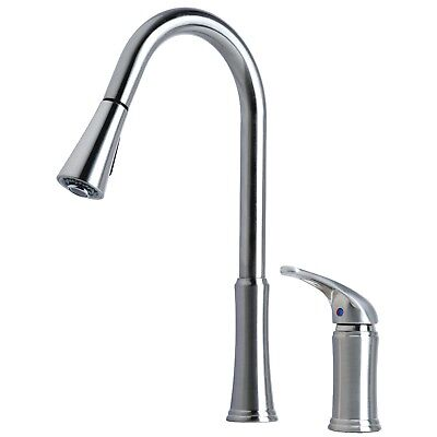 Contemporary Tow-Down Spray Kitchen Sink Faucet Stainless Steel Finish