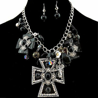 Pearl Cross (Western Black Large Cross Pendant with Charms Necklace with Pearl)