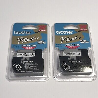 2 Genuine Brother M231 P-touch Label Black On White Tape 12 M Series M-231