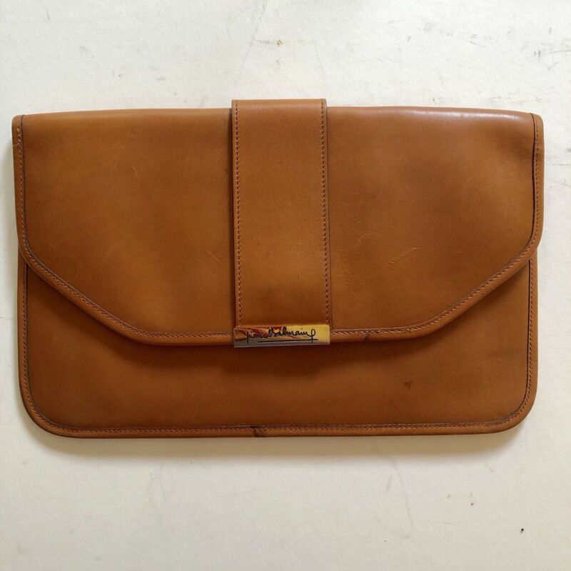 Vintage Pierre Balmain Leather Envelope Clutch Purse Caramel