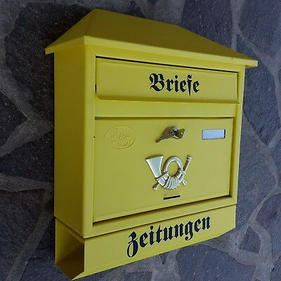 Zeitungsrolle Mailbox Postkasten Postbox Gold Nostalgischer Briefkasten inkl