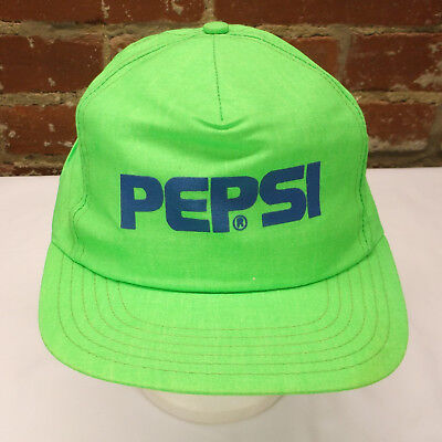 Vintage Pepsi Cola Soda Pop Neon Green One Size Fits All Adjustable Snapback Hat