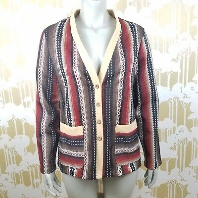 Vintage 1970's JC Penny Fashions Women's 16 V-Neck Cardigan Southwestern Sweater