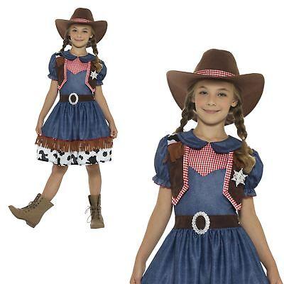 Cowgirl Kostüm Mädchen (Kinder Mädchen Wilder Westen Texan Rodeo Cowgirl Jessie Kostüm Buch Woche Kostüm)