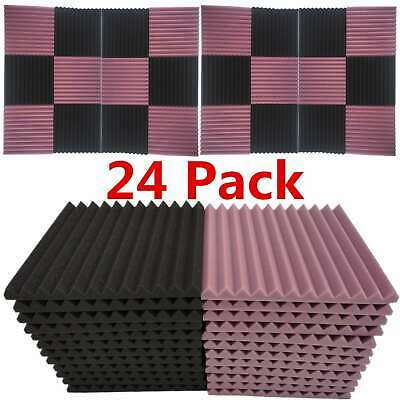 "24-Pack Acoustic Foam Panel Wedge Studio Soundproofing 1"" X 12"" X 12"" Wall Tiles"