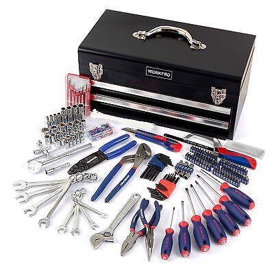 WORKPRO 239PC Mechanics Handool Set 2Drawer Heavy Duty Metal Box Repair Tool Kit