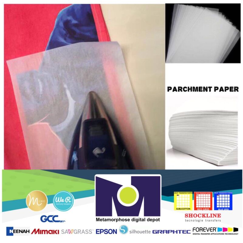 PARCHMENT SILICONE TISSUE paper FOR HEAT TRANSFER APPLICATIONS 8.5x11 100 Sheets