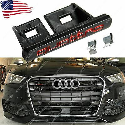Black/red Front Quattro Logo Grille Badge Emblem Audi A3 A4 A4 A8 TT Q5 Q7 S6 S8
