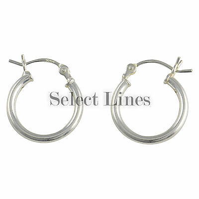 Sterling Silver 2mm Polished Hinged Round Hoop Earrings Round Hollow Tube .925
