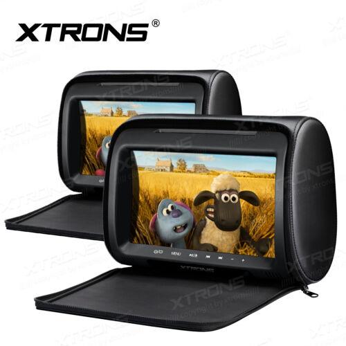 2x 9 inch Screen Car DVD Player Headrest Monitor Pillow Multimedia USB SD HDMI