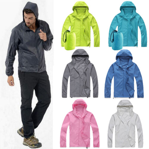 Women Men Rain Coat Hoodies Jogging Hiking Waterproof Windpr
