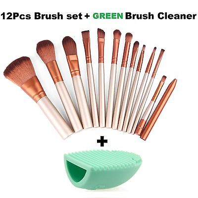 12pcs Kabuki Professional Make up Brushes Set Foundation Blusher + Green Cleaner