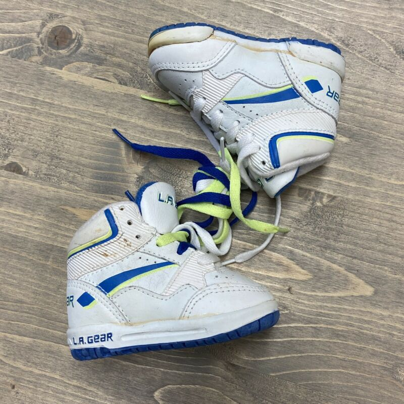 Vintage 1991 LA Gear Sneakers High Top Neon Green Blue Shoes infant toddler 2