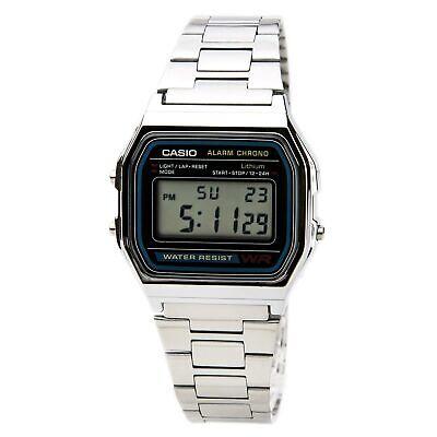 Casio A158W-1 Men's Digital Grey Dial Steel Chrono Stop Watch