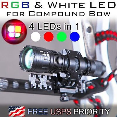 RGB & White Hunting light for Compound Bow Bowfishing-Picatinny Rail Stabilizer