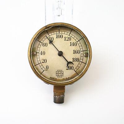 Vintage Us Gauge Co Ny Brass Pressure Gauge - Made In Usa