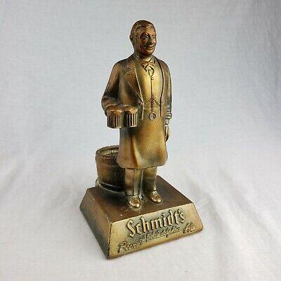 VTG Schmidt's Beer Bar Top Advertising Bronzed Metal Display Figure Bartender V2