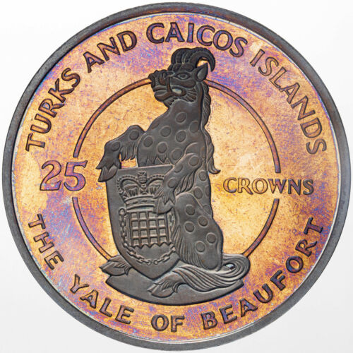 1978 TURKS & CAICOS ISLANDS 25 CROWNS YALE OF BEAUFORT SILVER PROOF BU TONE (DR)