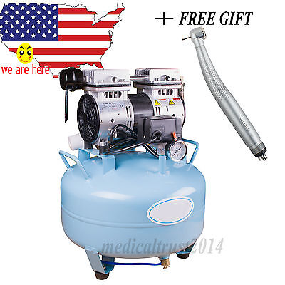 Dentist Dental Medical Noiseless Silent Oilless Air Compressor W Led Handpiece