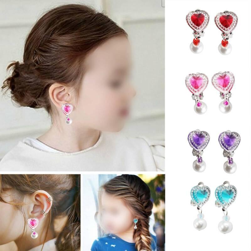1 Pair Fake Non-Piercing Rhinestone Cute Clip-On Earrings for Kids Teen Girl