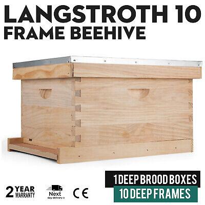 Beehive 10 Frame Complete Deep Box Kit 10 Deep Frame Langstroth Beekeeping
