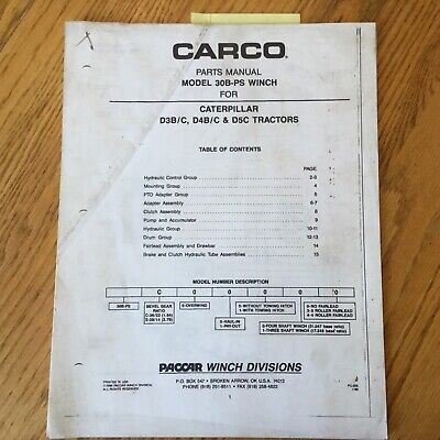 Carco Paccar 30b-ps Parts Manual Book Catalog List For Cat D3 D4 D5 Tractors