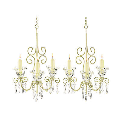 2 CANDLE HOLDERS: Shabby Hanging Chandeliers NEW (Candle Holders Bulk)