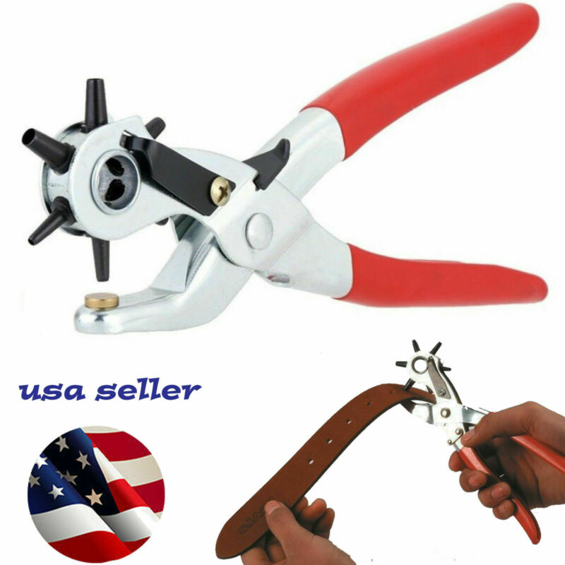 """6 Sized 9"""" Heavy Duty Leather Hole Punch Hand Plier Belt Holes Revolving Punches"""