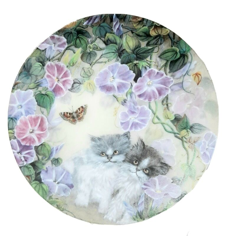 Petal Pals  Morning Melody W. L. George 8 Inch Collectors Plate Kittens Floral